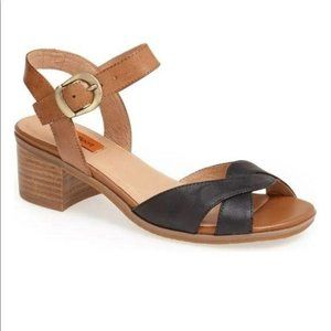 MIZ MOOZ Noreen Block Heel Sandal Brown Black 8.5